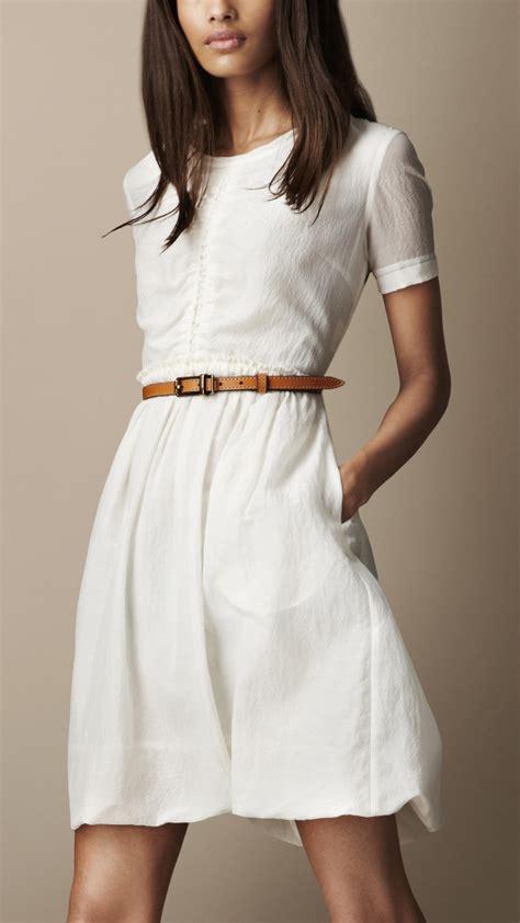 white dresses lyst burberry brit gathered waist silk cotton dress in white
