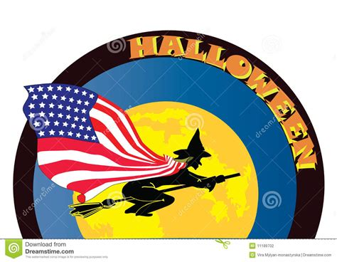 halloween witch  usa flag stock photography image