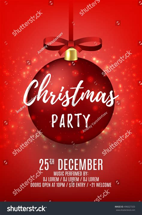 Christmas Party Flyer Red Ball Elegant Stock Vector