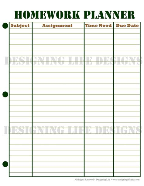 planners for college students homework planner and weekly homework sheet by