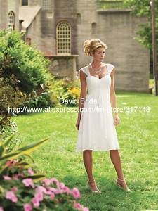 free shipping dv0228 empire knee length cap sleeve casual With mother of the bride dresses for outdoor country wedding