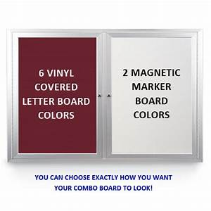 enclosed 2 door outdoor combo board 50x40 changeable With vinyl letter board