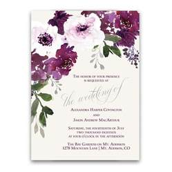 flower wedding invitations burgundy plum floral watercolor wedding invitations