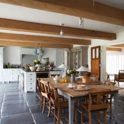 Kitchens And Interiors Farmhouse Style Kitchen Diner With Large Wooden Dining Table Modern Country House In West