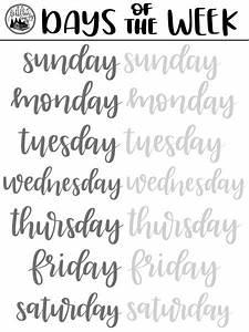 Brush Lettering Freebie  Days Of The Week Practice Sheet