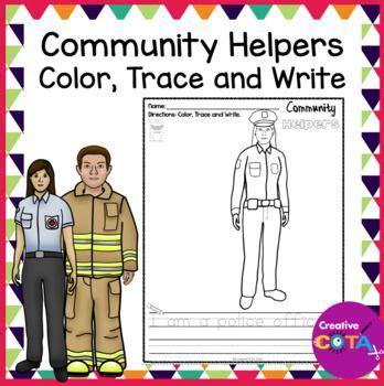 prep community helper coloring  trace  sentence