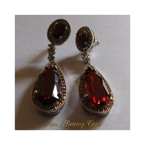 anting pesta permata merah sintentis gold filled