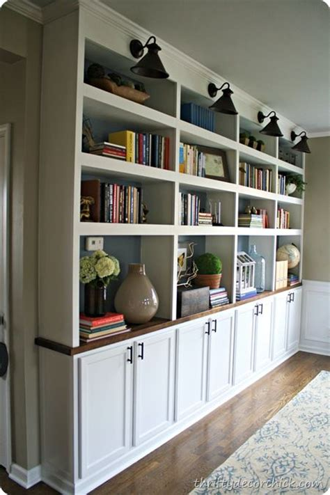 base cabinets for built ins thrifty decor diy built in bookcases w butcher