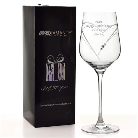 engraved swarovski heart wine glass personalised