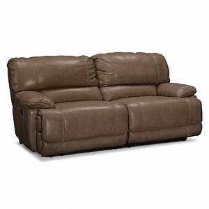 value city furniture With leather sectional sofa with 2 recliners