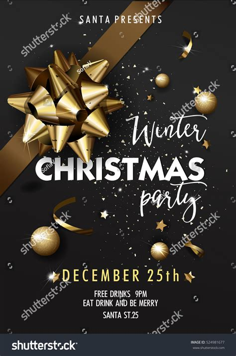 Holiday Merry Christmas Party Layout Poster Stock Vector