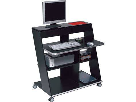 bureau informatique noir meuble informatique idesk coloris laqué noir tous les