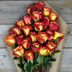 Red and Yellow Roses with Pink Flowers