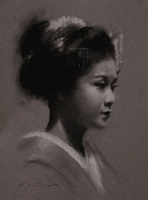 phil couture art daily  charcoal drawings  maiko