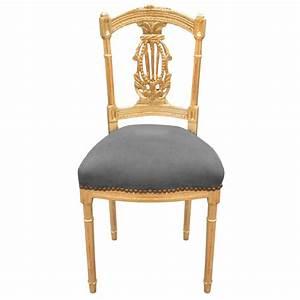 Chaise Velours Gris : chaise harpe de style louis xvi avec tissu velours gris et bois dor ~ Teatrodelosmanantiales.com Idées de Décoration