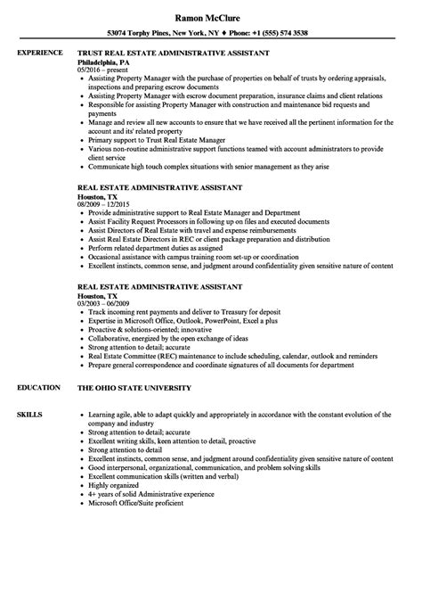 real estate administrative assistant resume sles