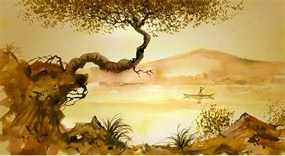 Chinese Painting Tree Wallpapers River Mural Grass