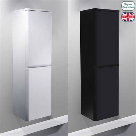 Wall Hung Cabinets - wall hung mdf black white gloss bathroom side cabinets