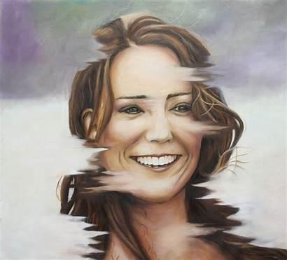 Portrait Kate Middleton Painting Oil Famous Kin