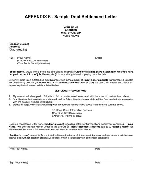settled  full letter sample settlement