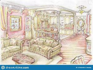 Fashion, Living, Room, In, Old, Style, Stock, Illustration