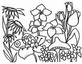Coloring Garden Pages Flower Printable Flowers Sheets Spring Butterfly sketch template