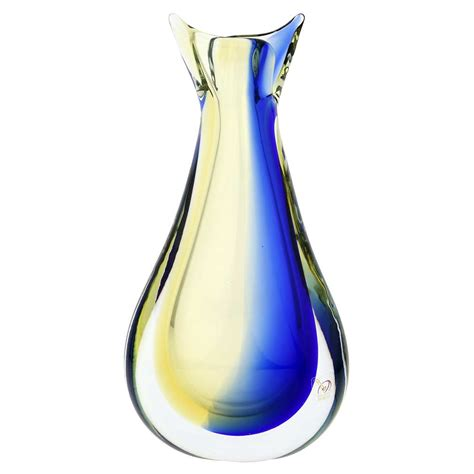 Glass Vase by Murano Sommerso Vase Blue Unique Glass Vases