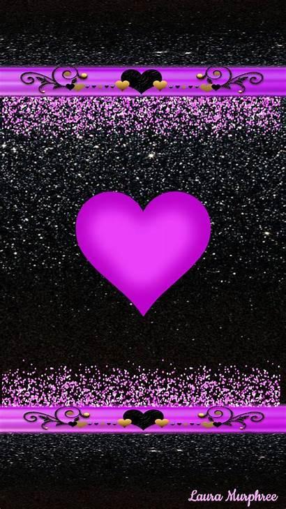 Glitter Heart Phone Hearts Wallpapers Girly Anime
