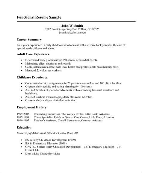 Basic Resume Setup by Basic Resume Sles Exles Templates 8 Documents