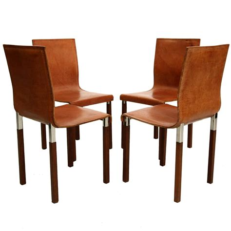 set of four leather emile industrial modern dining chairs
