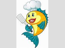 Cartoon Koch Fisch mit Geschirr zum Vektorgrafik