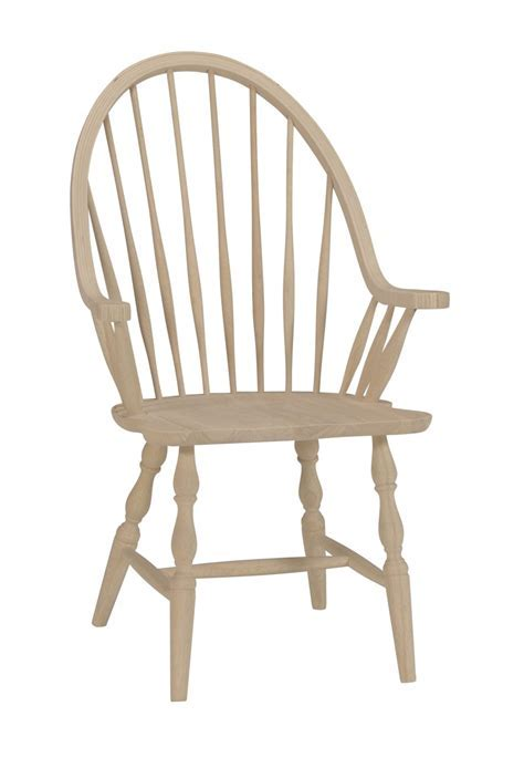 Unfinished Tall Windsor Arm Chair w/ Wood Seat (Built) Two