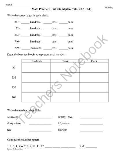 freebie 10 pages 2 nbt 1 place value 2nd grade