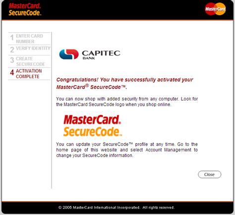 activate capitec mastercard securecode
