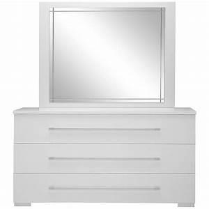 Dimora White Dresser & Mirror: Bedroom Furniture Set