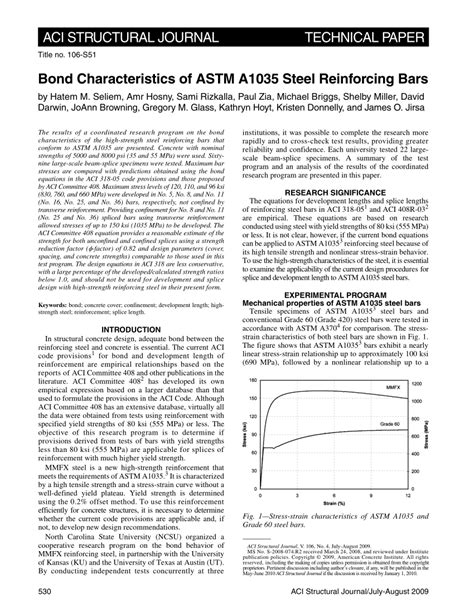 (PDF) Bond Characteristics of ASTM A1035 Steel Reinforcing
