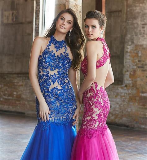 Royal Blue Prom Dresses 2015 Sheer High Neck Lace ...