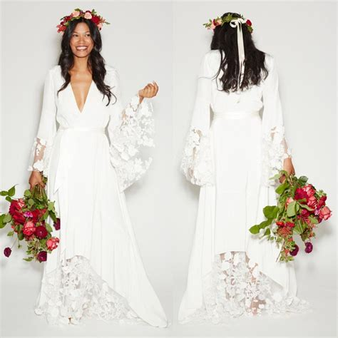 Summer Beach Boho Wedding Dresses Bohemian Beach Hippie