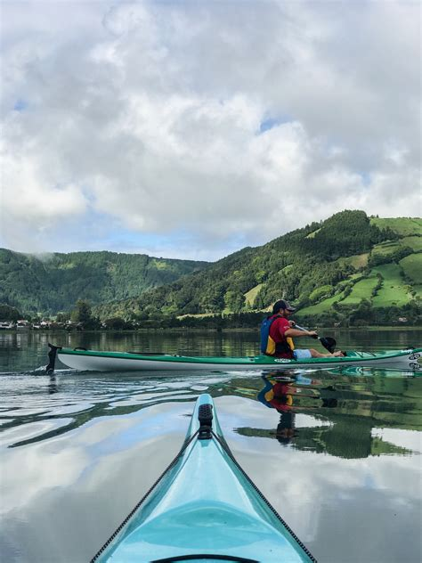 kayaking   green blue lakes  sete cidades