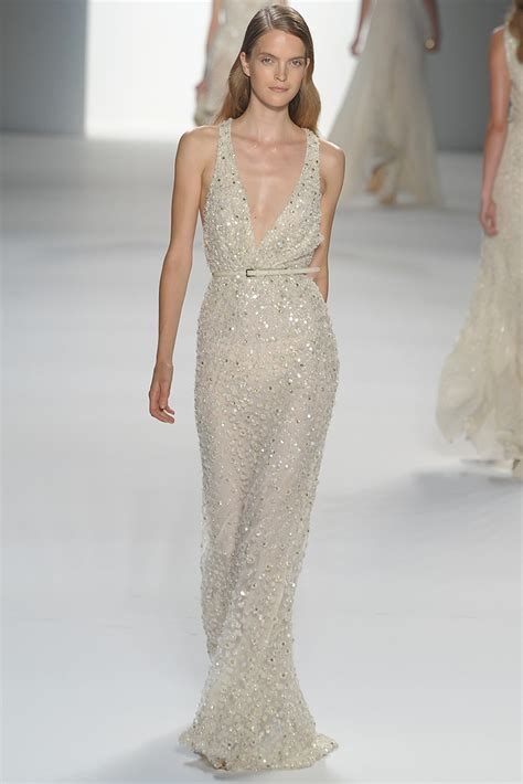 deep  neck elie saab beaded wedding dress
