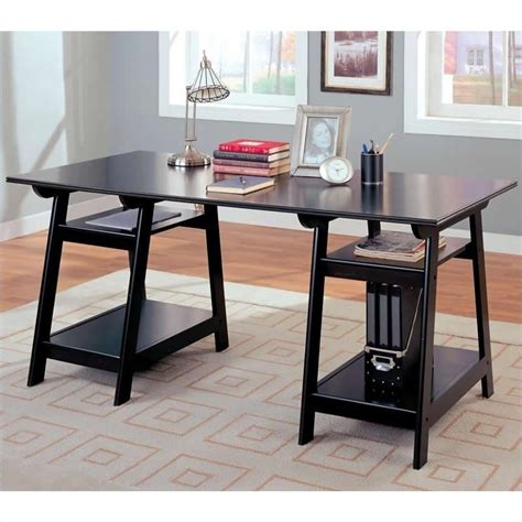 long desks for home office coaster desks casual double pedestal trestle desk with