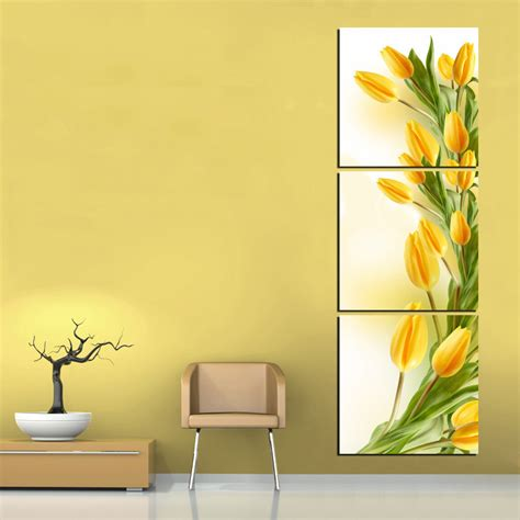modern abstract 3 panel wall art yellow tulip flower print on canvas art picture painting for