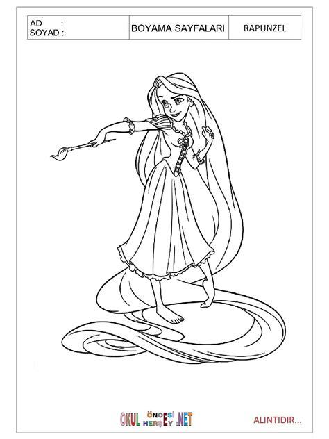 Rapunzel Boyama Sayfasi Ust Ev Boyama Sayfasi