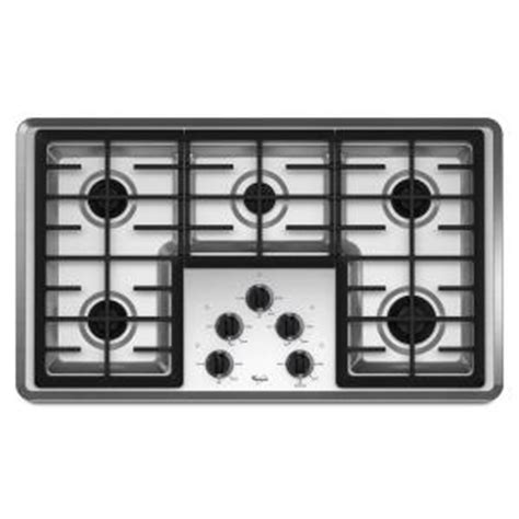 whirlpool 5 burner gas cooktop whirlpool 36 in gas cooktop in stainless steel with 5
