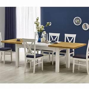 Table A Manger Blanche : table a manger blanche et bois extensible 160 250cm donna so inside ~ Preciouscoupons.com Idées de Décoration