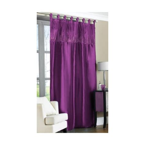 purple tab top embroidered curtain panel 57x90 145x228cm