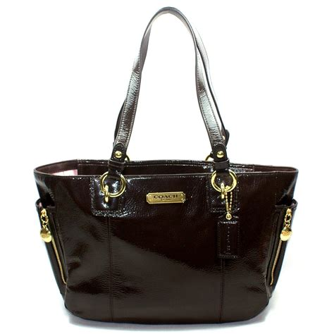 coach gallery patent leather zip tote bag  coach