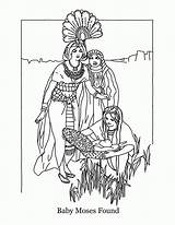 Moses Coloring Pages Printable Israelites Bible Clipart Exodus Basket Story Pharaoh Mose Worshipping Idols Miriam Template Found Christian Sunday Bush sketch template