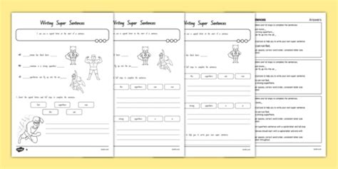 writing sentences differentiated worksheet activity
