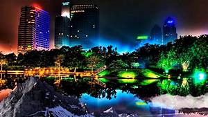 HD 3D Landscape with city buildings and city lights ...